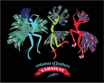 Colorful costumes of feathers carnival