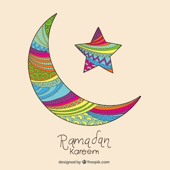 Colorful crescent moon for Ramadan Kareem