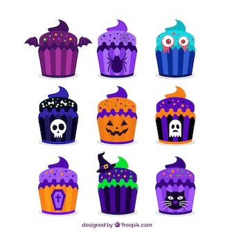 Colorful cupcakes ready for halloween