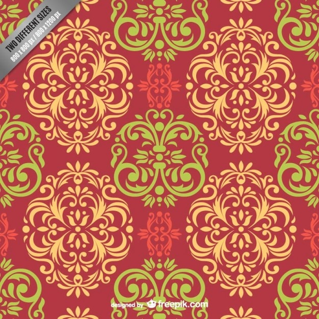 Floral damask pattern Vector | Free Download