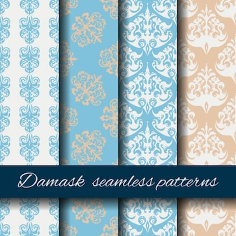 Colorful damask seamless pattern collection