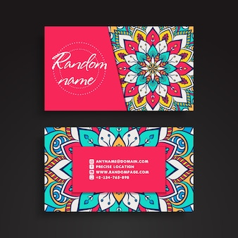 Colorful decorative business card with mandala decoration