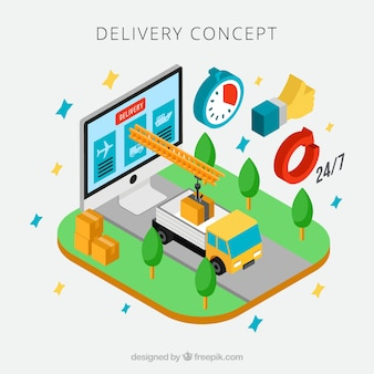 Colorful delivery concept with isometric perspective