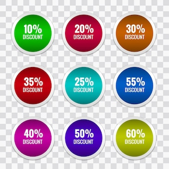 Colorful discount stickers