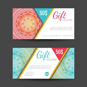 Colorful discount vouchers decorated with mandalas