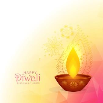 Colorful diwali festival background design with burning diya and paisley decoration
