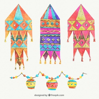 Colorful Diwali lanters in watercolor style