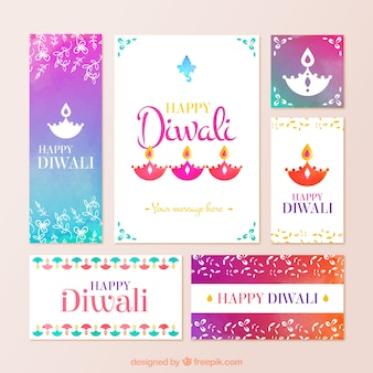 Colorful diwali stationery in abstract style