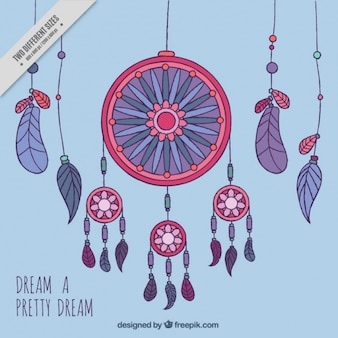 Colorful dream catchers with blue background