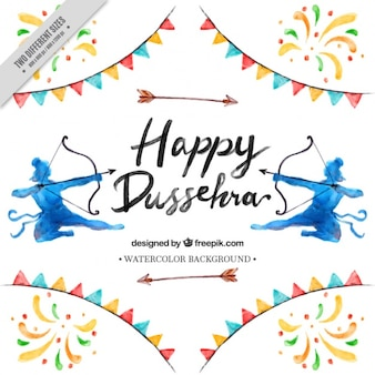 Colorful dussehra background painted with watercolor
