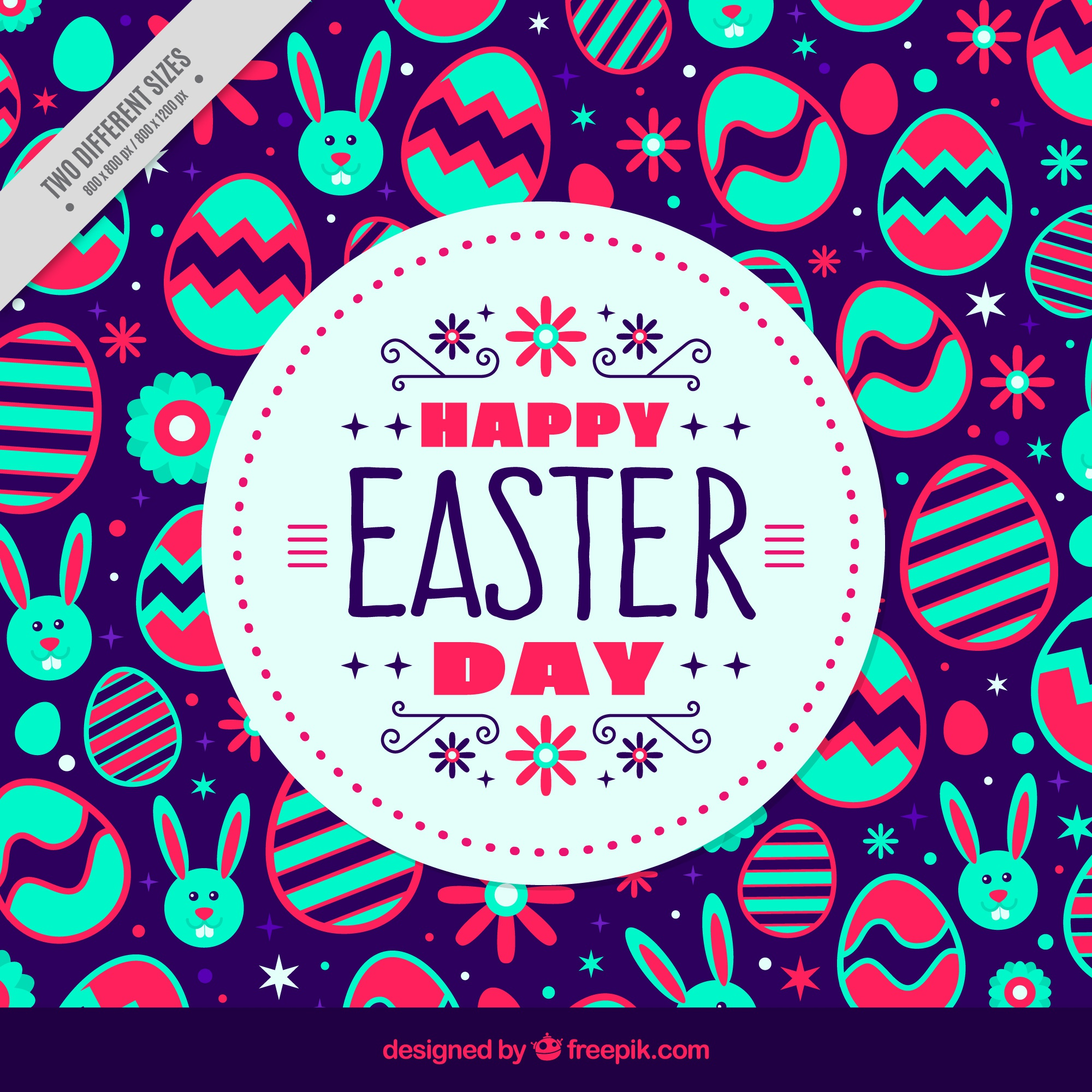 Colorful easter background in flat design