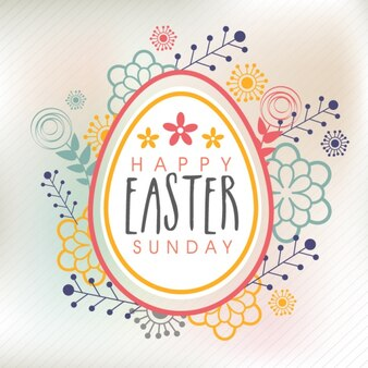 Colorful easter background with floral decoration