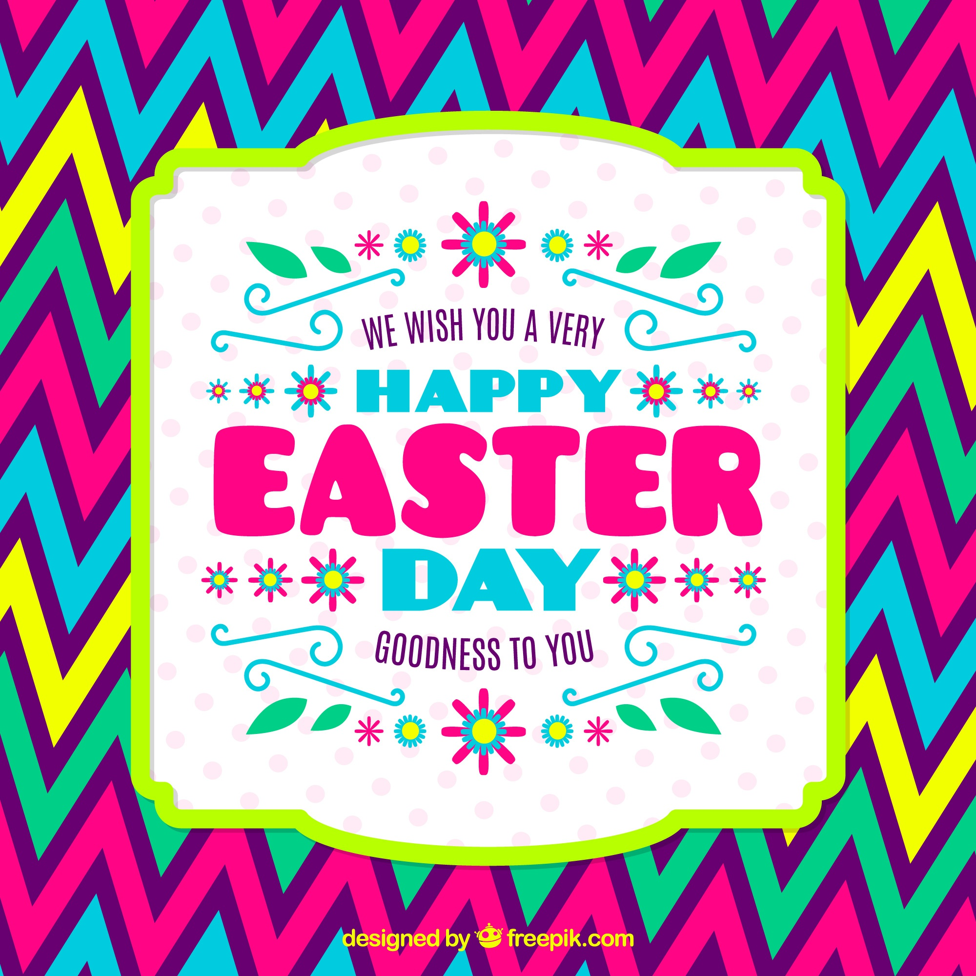 Colorful easter card with zigzag lines