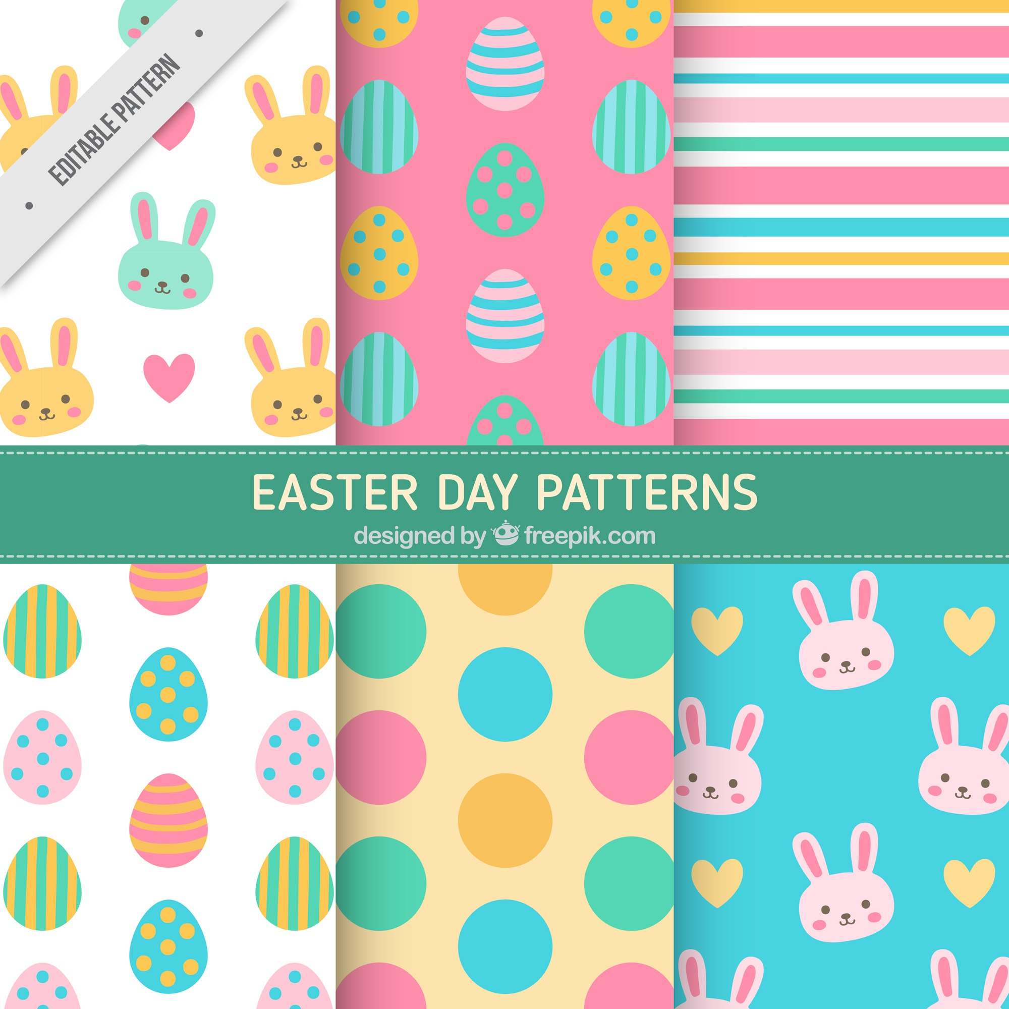 Colorful easter patterns in flat design