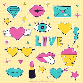 Colorful eighties stickers of valentine collection