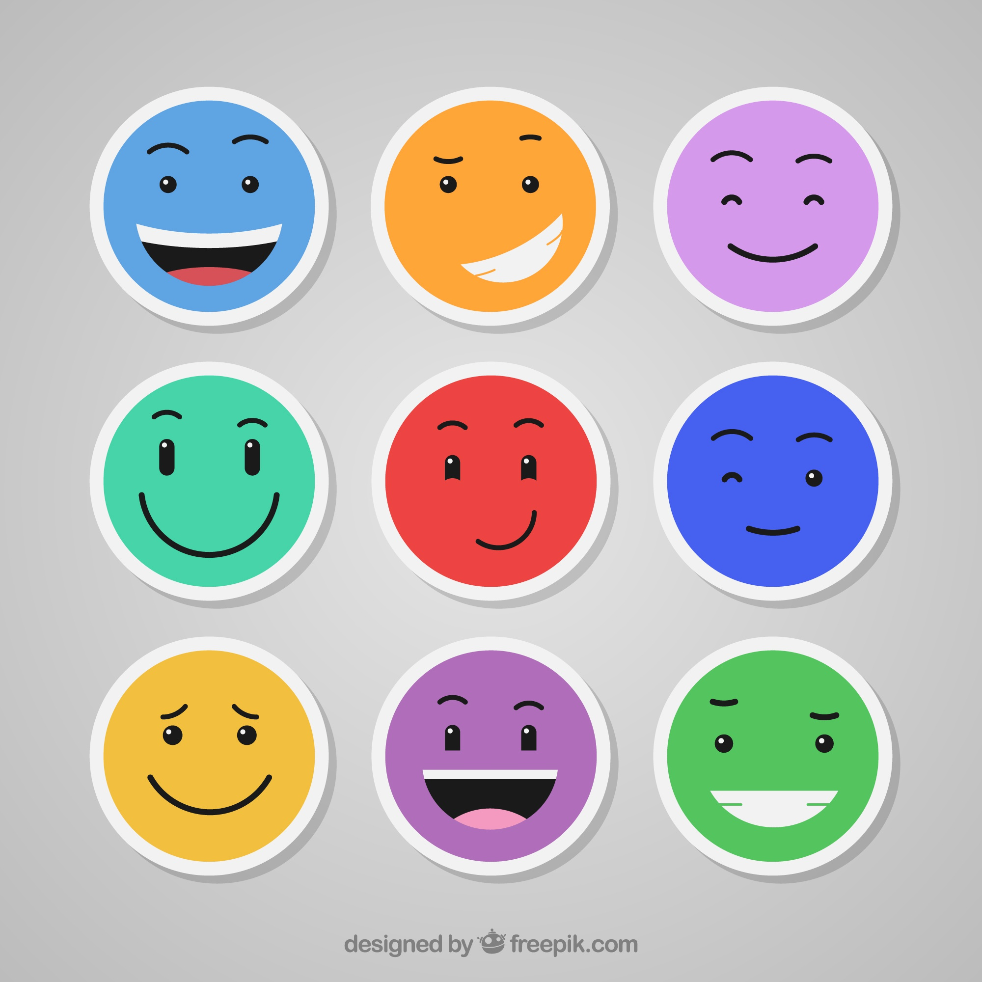 Colorful emoticons set