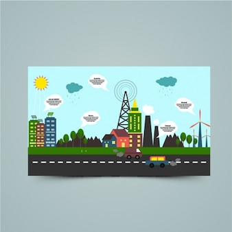 Colorful environmental infographic with speech bubbles