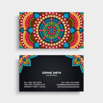 Colorful ethnic business card with mandala decoration