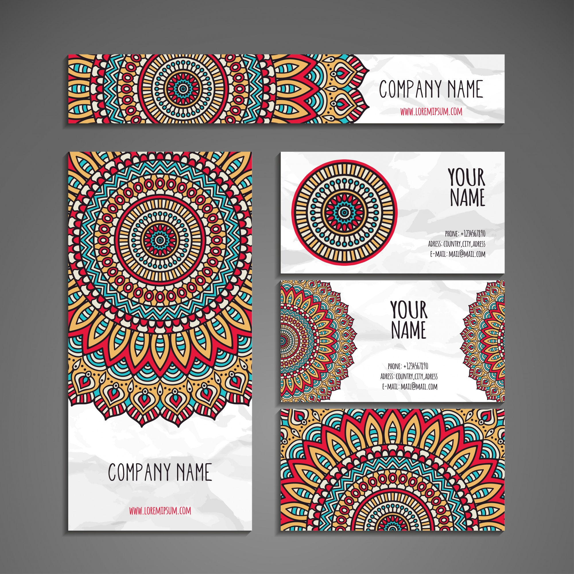 Colorful ethnic stationery collection in mandala style