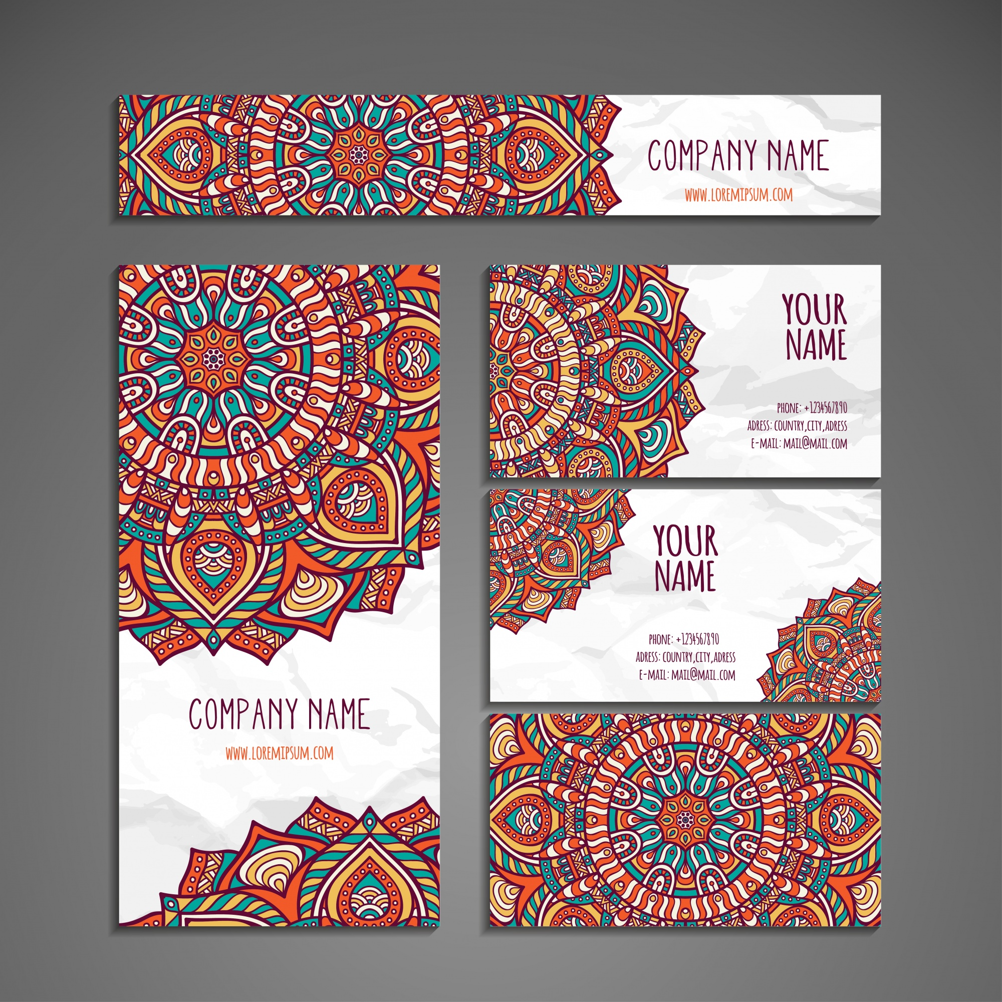 Colorful ethnic stationery collection