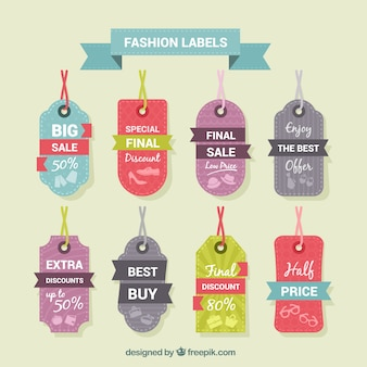 Colorful fashion tags collection