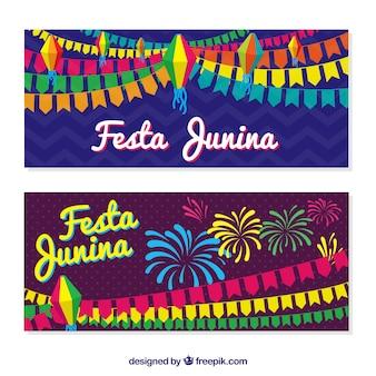Colorful festa junina banners