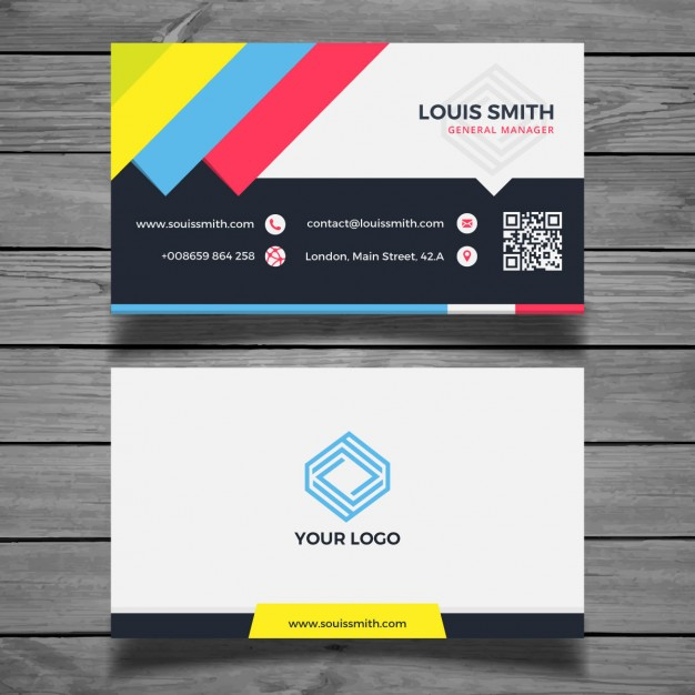 Colorful flat business card template