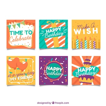 Colorful flat design birthday cards