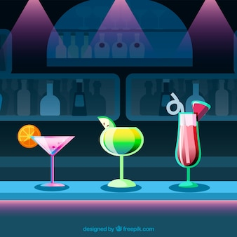 Colorful flat design cocktails background