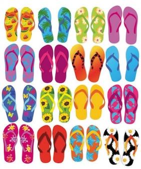 colorful flip flops vector set