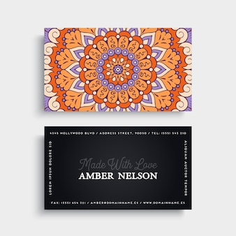 Colorful floral business card with mandala decoration