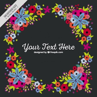 Colorful floral frame with a text