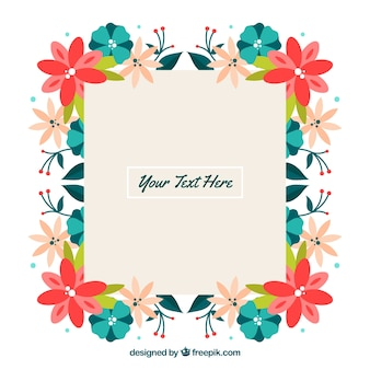 Colorful floral frame with flat design
