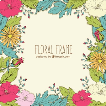 Colorful floral frame with hand drawn style