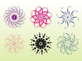 Colorful floral rings abstract background