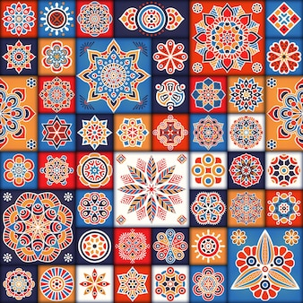 Colorful floral tiles