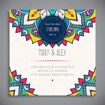 Colorful floral wedding card template