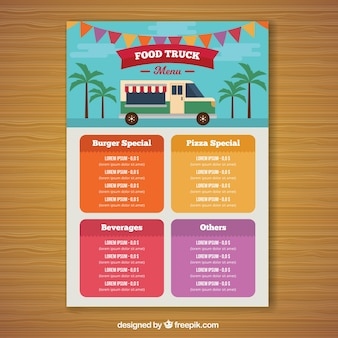 Colorful food truck menu with palm trees