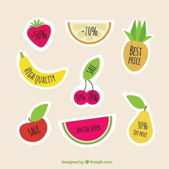 Colorful fruits labels