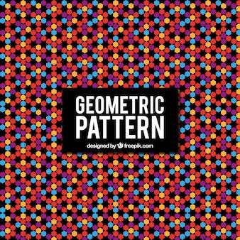 カラフルな幾何学模様の六角形