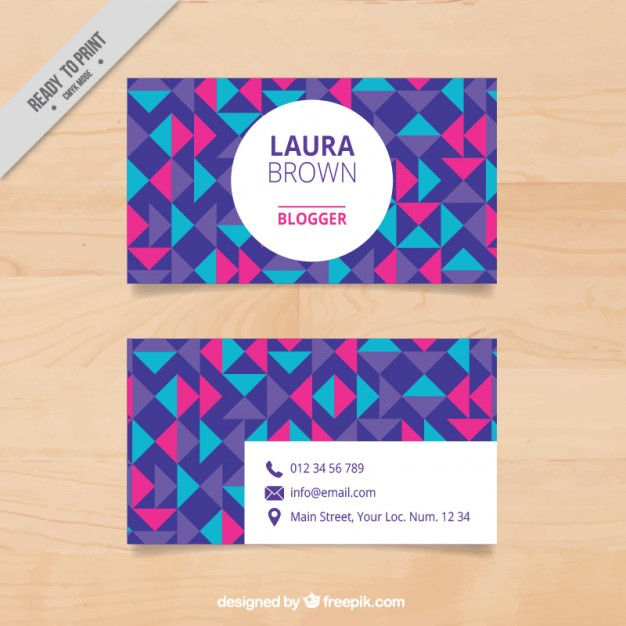 Colorful geometric visit card