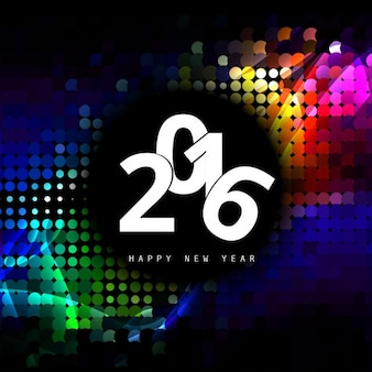 Colorful glowing new year 2016 card