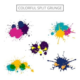 Colorful grunge paint stain set