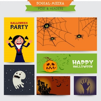 Colorful halloween banners with different designs