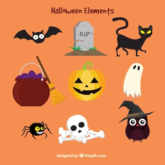 Colorful halloween elements in flat style