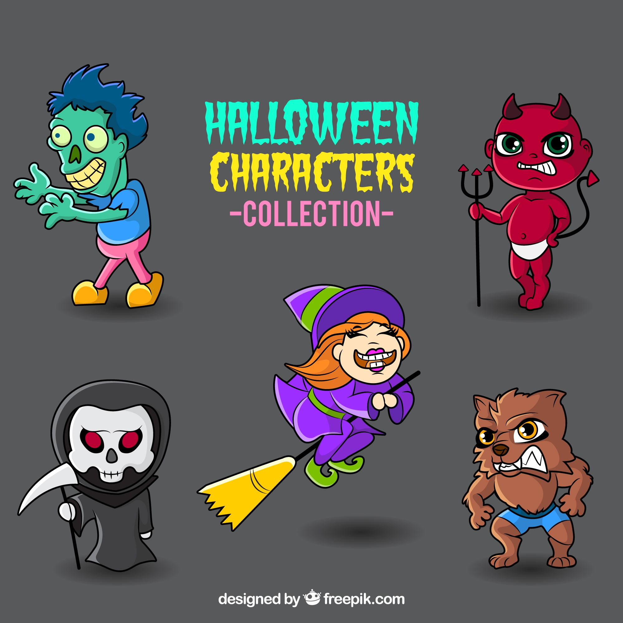 Colorful halloween monsters collection