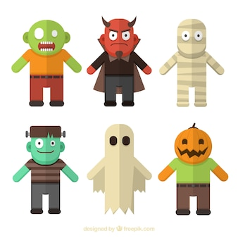 Colorful halloween monsters in style flat