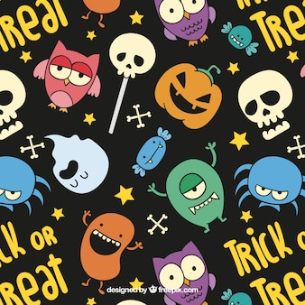 Colorful halloween pattern in cartoon style
