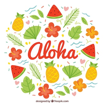 Colorful hand drawn aloha background