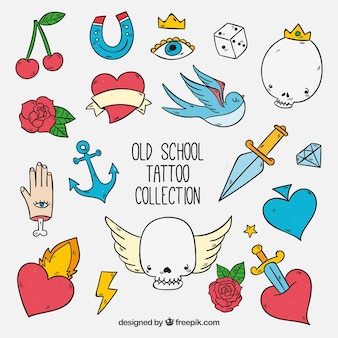 Colorful hand drawn funny old school tattoo collection